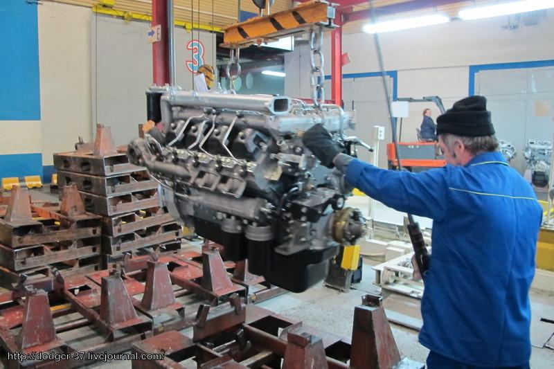 сборочный конвейер двигателей